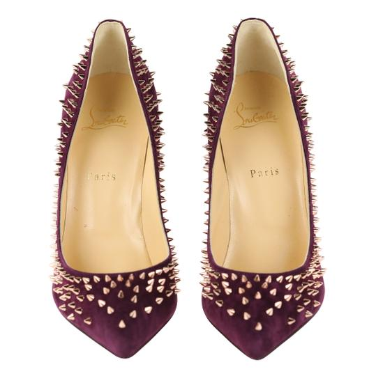 Christian Louboutin Suede Leather Rose Gold Purple Pumps Image 5