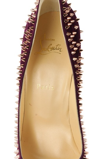 Christian Louboutin Suede Leather Rose Gold Purple Pumps Image 8