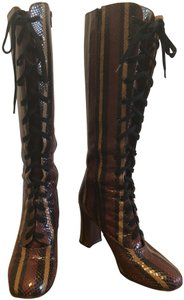 Chie Mihara Embossed Snake Leather Eyelet Laceup 4-inch Heel Multi Brown Boots