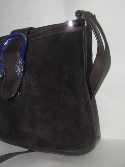 Gucci 1960's Mod Style Early Blue Enamel/Gold Engraved Tiger Heads Excellent Vintage Satchel in brown suede and leather Image 3