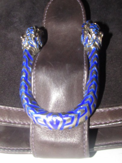 Gucci 1960's Mod Style Early Blue Enamel/Gold Engraved Tiger Heads Excellent Vintage Satchel in brown suede and leather Image 9