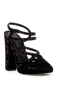 Marchesa Block Heel Ankle Strap Suede Studded BLACK-NUDE Sandals
