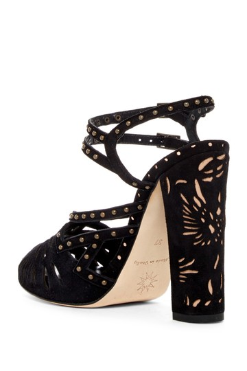 Marchesa Block Heel Ankle Strap Suede Studded BLACK-NUDE Sandals Image 1