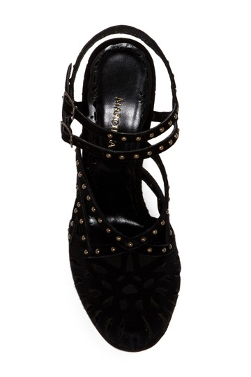 Marchesa Block Heel Ankle Strap Suede Studded BLACK-NUDE Sandals Image 2