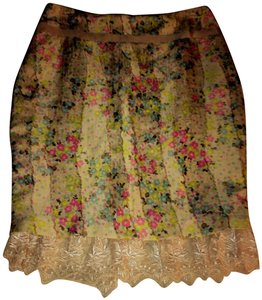 Tracy Reese Pencil Lace Trim Vintage Print Skirt Floral