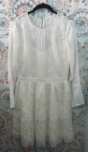 adelyn rae White Lace Suzanne Modest Wedding Dress Size 8 (M)