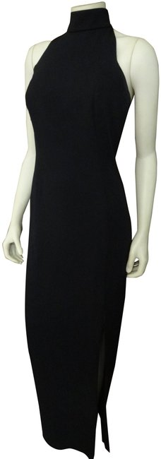 Item - Black W Halter Style Evening Gown In W/Front Slit Long Formal Dress Size 12 (L)