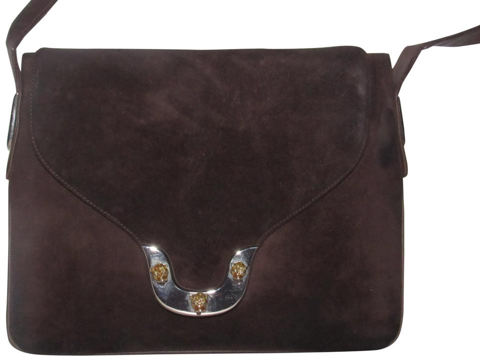 7b641b25b7d Gucci 1960 s Mod Style Early Engraved Tiger Heads Mint Vintage Saddle Style  Satchel in brown suede ...