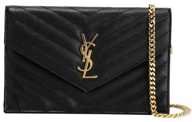 Item - Chain Wallet Clutch Ysl Monogram Quilted Envelope Black/Gold Leather Cross Body Bag