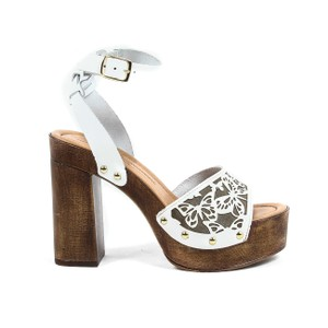 Versace 19.69 Leather Italian Butterfly Wood Gold White Wedges