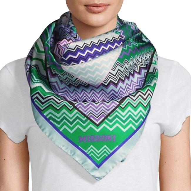 Item - Purple and Green and Blue Zigzag Silk Scarf/Wrap