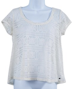 American Eagle Outfitters Lace Sheer Top Cream
