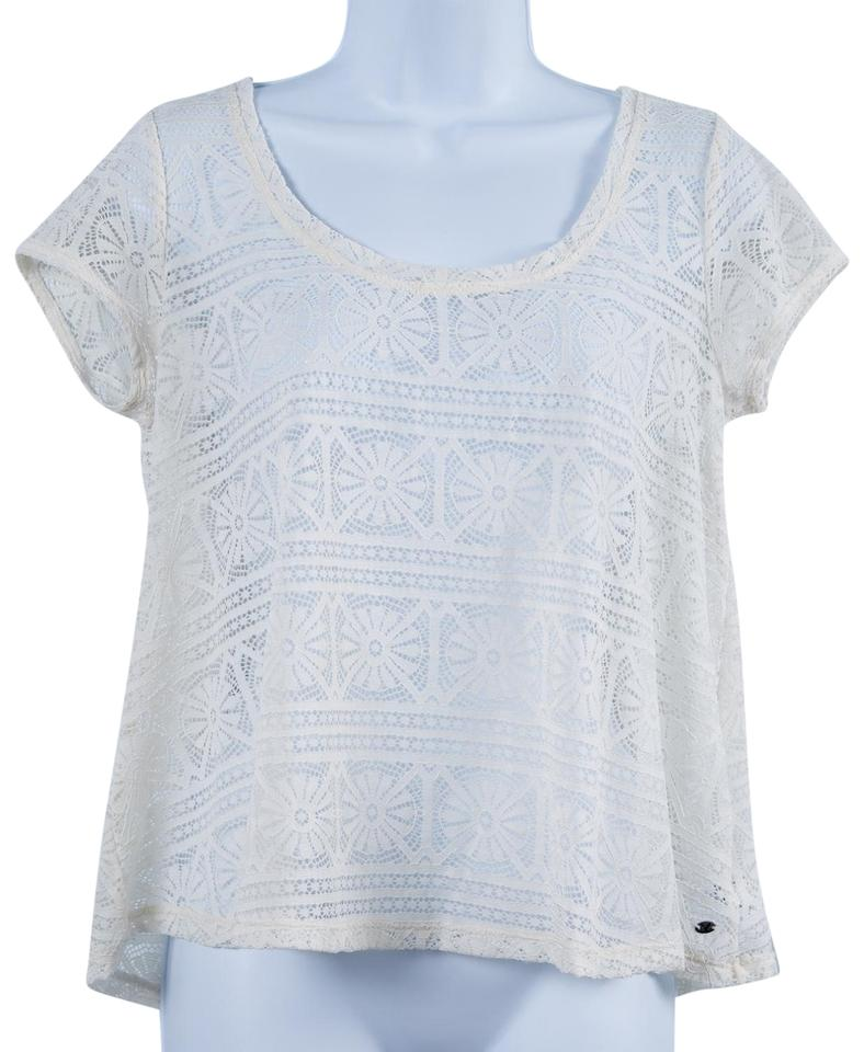 45696815 American Eagle Outfitters Cream Sheer Lace Blouse Size 4 (S) - Tradesy