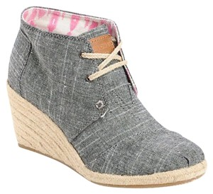 TOMS Wedge Espadrilles Black Chambray Boots
