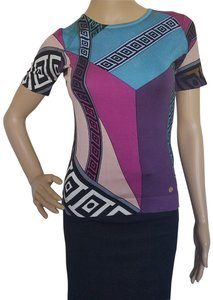 Versace Monogram Logo Silk Print Medusa Top Blue, Purple, Pink, Multicolor