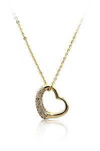 Ocean Fashion 925 Gold Cabinet micro crystal heart necklace