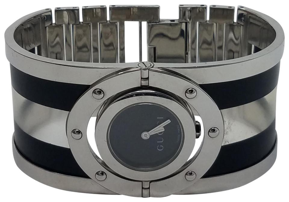 89e88c78d8995 Gucci Black Silver Stainless Steel 24mm 112 Twirl Watch - Tradesy