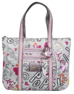 Coach Poppy Hearts Hangtags Shoulder Rare Tote in Silver/Pink/Multicolor/SV