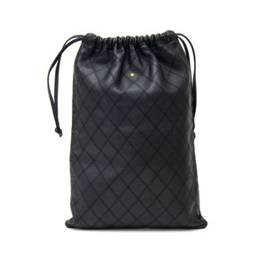 Chanel Vintage Chanel Black Quilted Leather String Bag