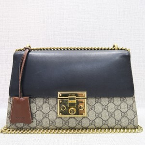 61e0d7a8e26423 Gucci Supreme Padlock Black Canvas Cross Body Bag