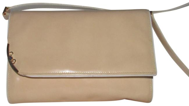 Item - Clutch Sylvie Vintage Two- Way Purse Gold Gg & Accent Buttery Soft Glossy Tan and White Leather with Lapis Lazuli Shoulder Bag