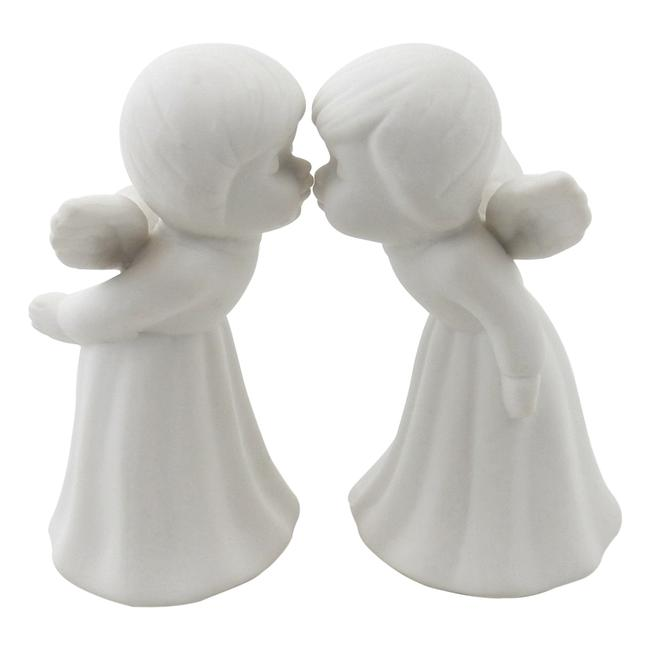 White Set Of 2 - Kissing Angels Figurines Porcelain Bisque 4 1/2 H. Decoration White Set Of 2 - Kissing Angels Figurines Porcelain Bisque 4 1/2 H. Decoration Image 1