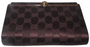 Gucci True 1960's Mod Hard & Boxy Shape Mint Vintage Early chocolate brown large G logo print silk and leather Clutch