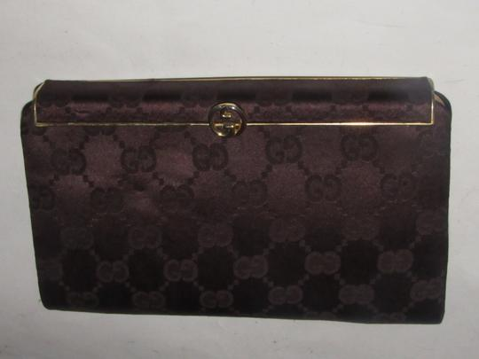 Gucci True 1960's Mod Hard & Boxy Shape Mint Vintage Early chocolate brown large G logo print silk and leather Clutch Image 1