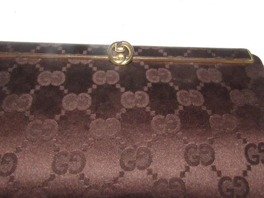 Gucci True 1960's Mod Hard & Boxy Shape Mint Vintage Early chocolate brown large G logo print silk and leather Clutch Image 10