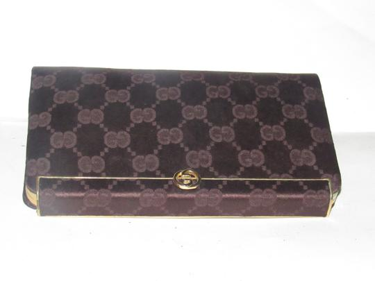 Gucci True 1960's Mod Hard & Boxy Shape Mint Vintage Early chocolate brown large G logo print silk and leather Clutch Image 2