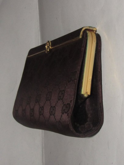 Gucci True 1960's Mod Hard & Boxy Shape Mint Vintage Early chocolate brown large G logo print silk and leather Clutch Image 3