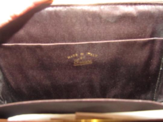Gucci True 1960's Mod Hard & Boxy Shape Mint Vintage Early chocolate brown large G logo print silk and leather Clutch Image 4