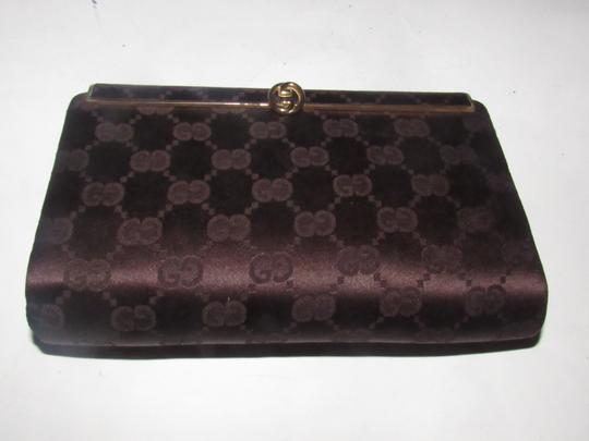 Gucci True 1960's Mod Hard & Boxy Shape Mint Vintage Early chocolate brown large G logo print silk and leather Clutch Image 5