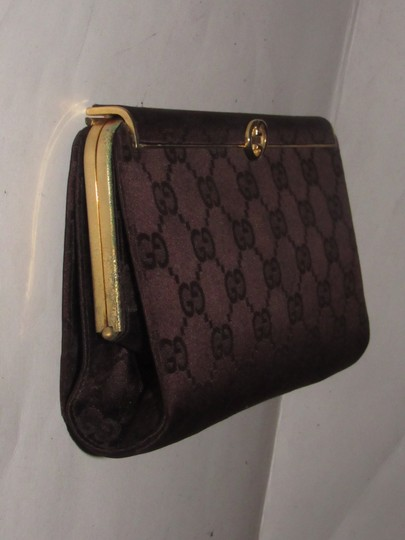 Gucci True 1960's Mod Hard & Boxy Shape Mint Vintage Early chocolate brown large G logo print silk and leather Clutch Image 6