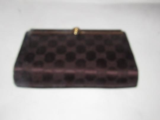 Gucci True 1960's Mod Hard & Boxy Shape Mint Vintage Early chocolate brown large G logo print silk and leather Clutch Image 7