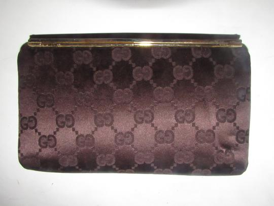 Gucci True 1960's Mod Hard & Boxy Shape Mint Vintage Early chocolate brown large G logo print silk and leather Clutch Image 8