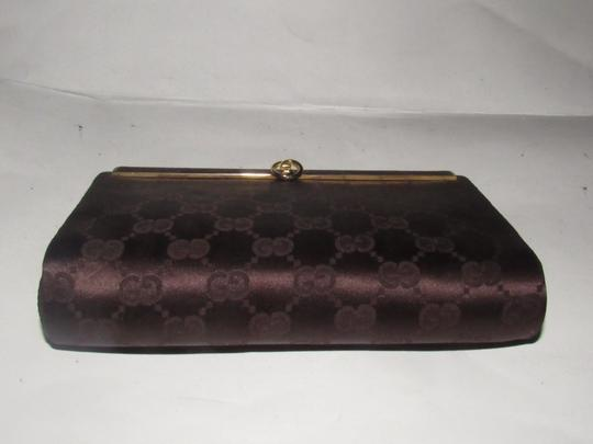 Gucci True 1960's Mod Hard & Boxy Shape Mint Vintage Early chocolate brown large G logo print silk and leather Clutch Image 9