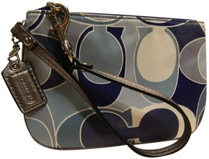 Coach Scarf Print Rare New Wristlet in Multiple Shades of Blue/Metallic Silver/SV