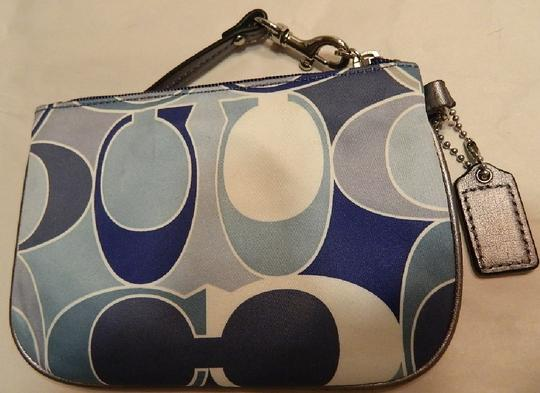 Coach Scarf Print Rare New Wristlet in Multiple Shades of Blue/Metallic Silver/SV Image 10