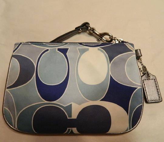 Coach Scarf Print Rare New Wristlet in Multiple Shades of Blue/Metallic Silver/SV Image 2