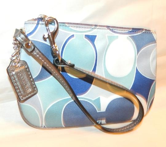 Coach Scarf Print Rare New Wristlet in Multiple Shades of Blue/Metallic Silver/SV Image 3