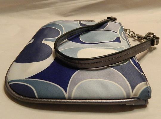 Coach Scarf Print Rare New Wristlet in Multiple Shades of Blue/Metallic Silver/SV Image 4