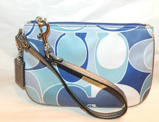 Coach Scarf Print Rare New Wristlet in Multiple Shades of Blue/Metallic Silver/SV Image 6