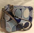 Coach Scarf Print Rare New Wristlet in Multiple Shades of Blue/Metallic Silver/SV Image 7