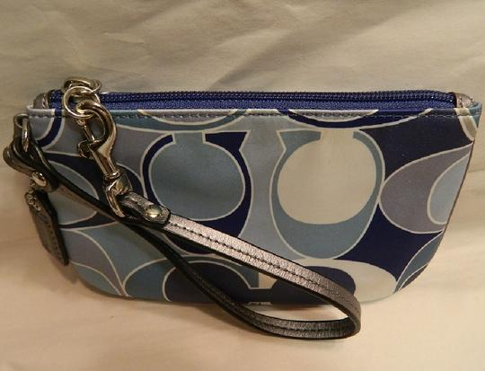Coach Scarf Print Rare New Wristlet in Multiple Shades of Blue/Metallic Silver/SV Image 9