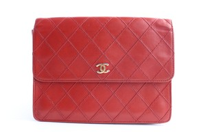 Chanel Pouch Wallet Square Organizer Red Clutch