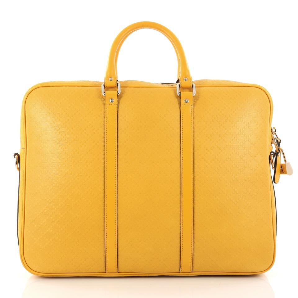 f42b6664d64 Gucci Bright Convertible Briefcase Diamante Large Yellow Leather ...