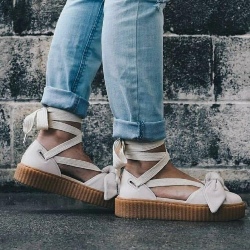 best website 10359 59c6d FENTY PUMA by Rihanna Pink Tint Nwb Bow Creeper Sandals Flats Size US 7.5  Regular (M, B) 67% off retail