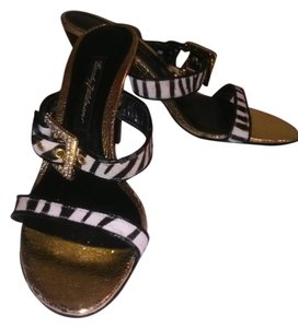 NEW! Beverly Feldman Leopard Black/White Sandals