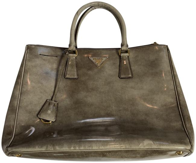 Item - Marble Saffiano Tote Taupe Grey Patent Leather Satchel